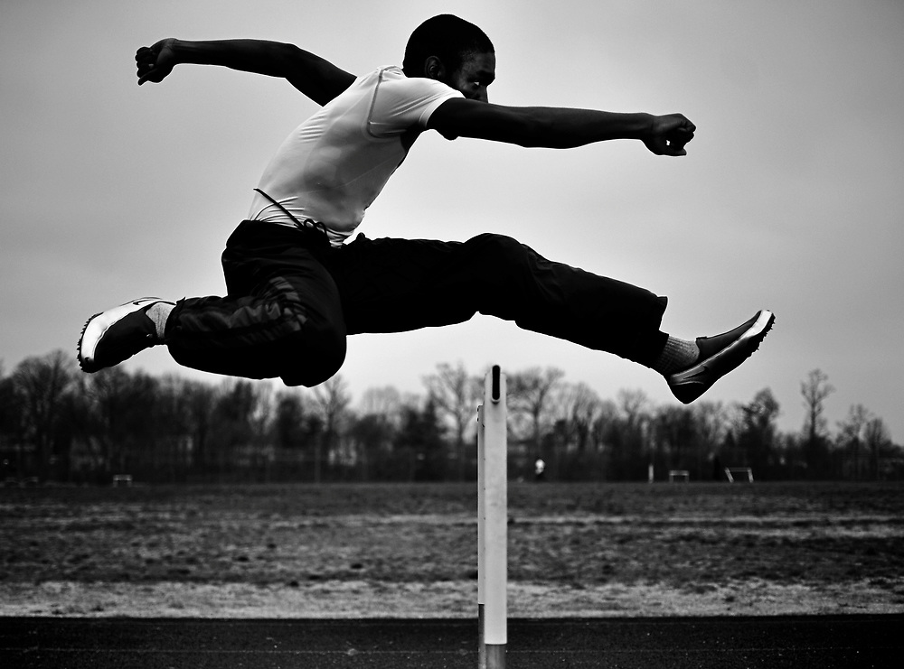 (staff photo by Matt Roth)..Laurel High School senior track star Jibri Victorian has the high octane stuff Division 1 runners are made of. The sprinter and hurdler is photographed during practice on the Laurel High School track Thursday, April 2, 2009....