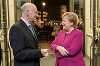 08 NOV 2019, BERLIN/GERMANY:<br /> Norbert Lammert (L), CDU, Praesident der KAS und Angela Merkel (R), CDU, Bundeskanzlerin, im Gespraech vor Beginn der Europa Rede, einer jaehrlich wiederkehrende Stellungnahme der hoechsten Repraesentanten der Europaeischen Union zur Idee und zur Lage Europas, organisiert von der Konrad-Adenauer-Stiftung, der Stiftung Zukunft Berlin und der Stiftung Mercator, Allianz Forum<br /> IMAGE: 20191108-01-006