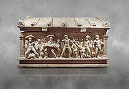 Roman relief sculpted Herakles (Hercules)  sarcophagus, 2nd century AD, Perge, inv 2017/400. Antalya Archaeology Museum, Turkey .<br /> <br /> If you prefer to buy from our ALAMY STOCK LIBRARY page at https://www.alamy.com/portfolio/paul-williams-funkystock/greco-roman-sculptures.html . Type -    Antalya    - into LOWER SEARCH WITHIN GALLERY box - Refine search by adding a subject, place, background colour, etc.<br /> <br /> Visit our ROMAN WORLD PHOTO COLLECTIONS for more photos to download or buy as wall art prints https://funkystock.photoshelter.com/gallery-collection/The-Romans-Art-Artefacts-Antiquities-Historic-Sites-Pictures-Images/C0000r2uLJJo9_s0