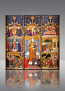 Gothic painted Panel Altarpiece of Saint Stephen by  Jaume Serra. Tempera, gold leaf and metal plate on wood. Circa 1385. Dimesions 185.7 x 186.5 x 11 cm. From the monastery of Santa Maria de Gualter (Noguera).. National Museum of Catalan Art, Barcelona, Spain, inv no: 003947-CJT .<br /> <br /> If you prefer you can also buy from our ALAMY PHOTO LIBRARY  Collection visit : https://www.alamy.com/portfolio/paul-williams-funkystock/romanesque-art-antiquities.html<br /> Type -     MNAC     - into the LOWER SEARCH WITHIN GALLERY box. Refine search by adding background colour, place, subject etc<br /> <br /> Visit our ROMANESQUE ART PHOTO COLLECTION for more   photos  to download or buy as prints https://funkystock.photoshelter.com/gallery-collection/Medieval-Romanesque-Art-Antiquities-Historic-Sites-Pictures-Images-of/C0000uYGQT94tY_Y