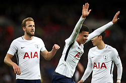 Tottenham Hotspur's Dele Alli celebrates scoring his side's first goal of the game during the Premier League match at Wembley Stadium. London.