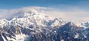 Aerial view of Denali (Mt. McKinley), the Kahiltna Glacier and the Alaska Range on a sightseeing flight from Talkeetna, Alaska.