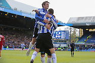 Sheffield Wednesday midfielder Kieran Lee (20) celebrates Sheffield Wednesday striker Gary Hooper (14) goal during the Sky Bet Championship match between Sheffield Wednesday and Cardiff City at Hillsborough, Sheffield, England on 30 April 2016. Photo by Phil Duncan.