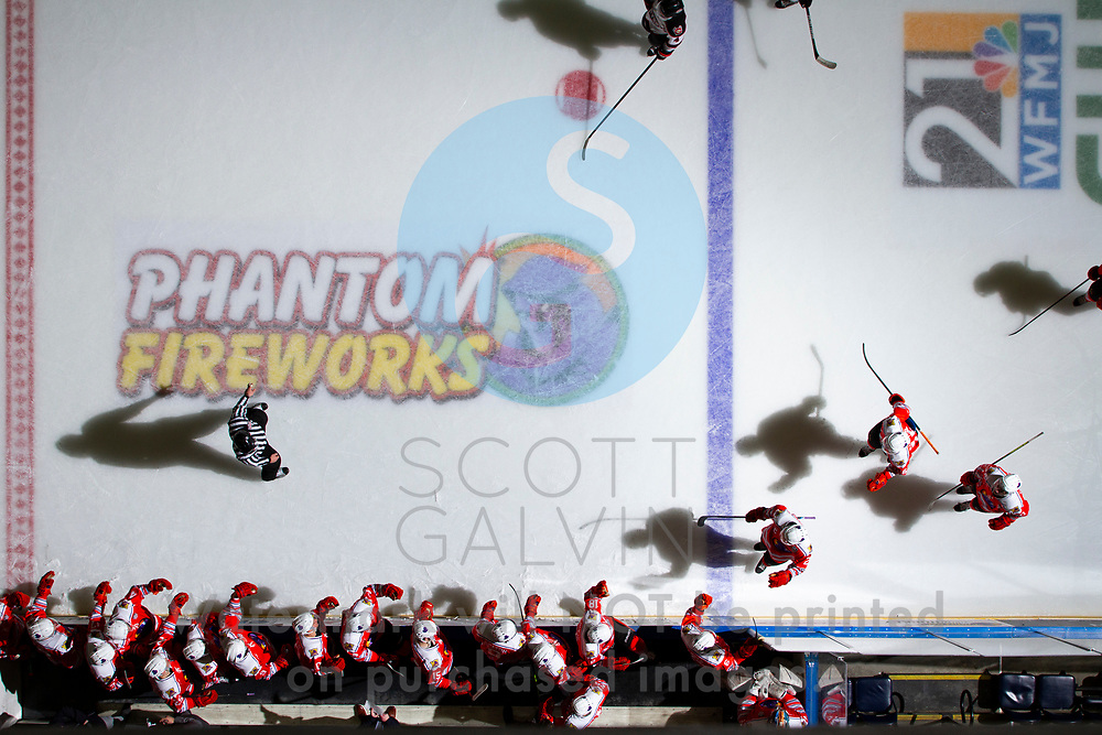 The Youngstown Phantoms lose 5-4 in overtime to the Chicago Steel at the Covelli Centre on February 26, 2020.<br /> <br /> Aiden Gallacher, defenseman, 2; Trevor Kuntar, forward, 16; Matthew Cassidy, forward, 20
