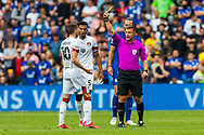 YELLOW CARD Bournemouth midfielder Ryan Christie (10)  is shown a yellow card by referee Joshua Smith. during the EFL Sky Bet Championship match between Cardiff City and Bournemouth at the Cardiff City Stadium, Cardiff, Wales on 18 September 2021.