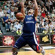 Efes Pilsen's Kaya PEKER during their Turkish Basketball league Play Off semi final second leg match Besiktas between Efes Pilsen at the BJK Akatlar Arena in Istanbul Turkey on Wednesday 12 May 2010. Photo by Aykut AKICI/TURKPIX