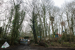 Wendover, UK. 20th February, 2021. A general view of the exterior of the Wendover Active Resistance Camp which is occupied by activists opposed to the HS2 high-speed rail link from HS2 Rebellion. A chain of such camps has been built by environmental activists along the planned route of the rail project from Euston in London to Birmingham.