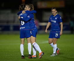 Chelsea's Maren Mjelde celebrates scoring her sides third goal of the game