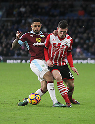 Andre Gray of Burnley (L) and Pierre-Emile Hojbjerg of Southampton in action - Mandatory by-line: Jack Phillips/JMP - 14/01/2017 - FOOTBALL - Turf Moor - Burnley, England - Burnley v Southampton - Premier League