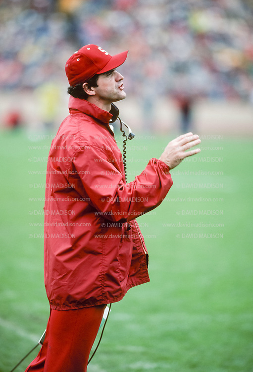 COLLEGE FOOTBALL:  Coach Jack Harbaugh of Stanford works from the sidelines during the 75th annual Big Game against Cal played on November 21, 1981 at Stanford Stadium in Palo Alto, California.  Photograph by David Madison    www.davidmadison.com.