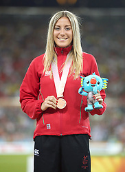 Bronze medallist in the Women's 1500m Final Wales' Melissa Courtney at the Carrara Stadium during day seven of the 2018 Commonwealth Games in the Gold Coast, Australia.