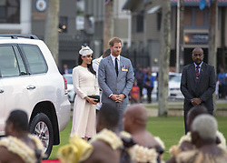 AU_1378063 - SUVA, FRENCH POYNESIA  -  Prince Harry and Meghan Markle attend a ceremony in Fiji<br /> <br /> Pictured: Prince Harry and Meghan Markle in Fiji<br /> <br /> BACKGRID Australia 22 OCTOBER 2018 <br /> <br /> Phone: + 61 2 8719 0598<br /> Email:  photos@backgrid.com.au