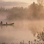 Canoeist and lab in canoe paddling across small lake. Foggy, morning. Northern Minnesota.