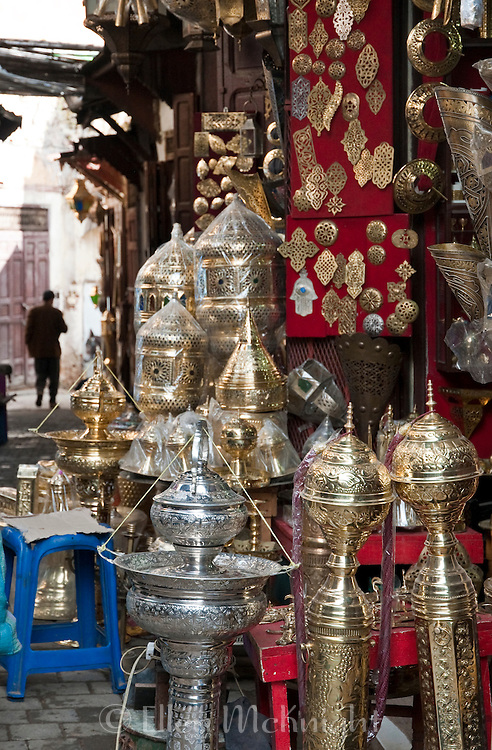 Metalware market at the souk in Fes