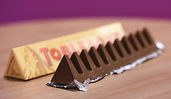 File photo dated 08/11/16 of a Toblerone chocolate bar. More than 2,500 products have shrunk in size over the past five years but prices have stayed the same, according to the Office for National Statistics (ONS).