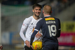 Ayr United's Daniel Harvie reacts as Falkirk's Zak Rubben pretends to throw the ball. Falkirk 2 v 0 Ayr United, Scottish Championship game played 8/3/2019 at The Falkirk Stadium.