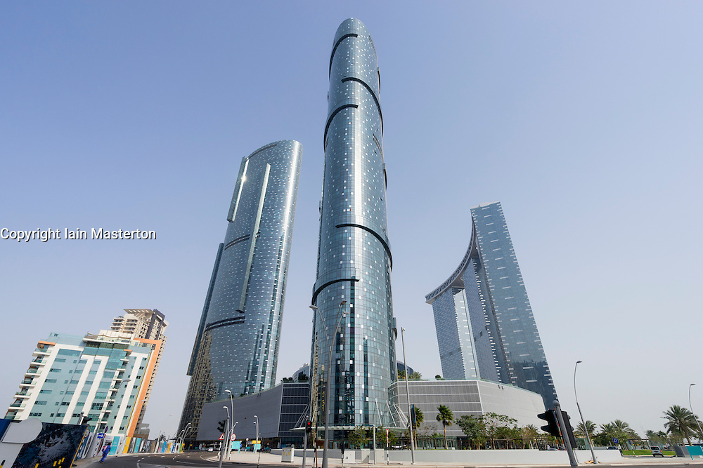 New Sun  and Sky Towers apartment skyscrapers on Al Reem Island in Abu Dhabi United Arab Emirates