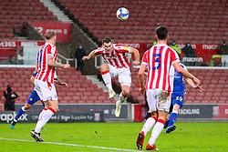 Sam Vokes of Stoke City heads the ball - Mandatory by-line: Nick Browning/JMP - 19/12/2020 - FOOTBALL - Bet365 Stadium - Stoke-on-Trent, England - Stoke City v Blackburn Rovers - Sky Bet Championship