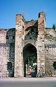 Porte St Michel gateway entrance, Cahors, Lot department, south west France 1976
