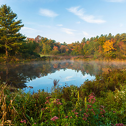 A pond at Kinney HIll Farm in South Hampton, New Hampshire. Fall.