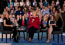 Oct. 04, 2016 - Haverford, PA, U.S. -  From left, ELIZABETH BANKS, HILLARY CLINTON and CHELSEA CLINTON hold a conversation with Delaware County families at the Haverford Community Recreation & Community Center.(Credit Image: © Brian Cahn via ZUMA Wire)