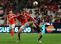 20120331: LISBON, PORTUGAL – Portuguese Liga Zon Sagres 2011/2012 - SL Benfica vs CS Braga.<br />In picture: Benfica's Rodrigo Moreno, from Spain, left, fights for the ball with Braga's Custodio.<br />PHOTO: Alvaro Isidoro/CITYFILES