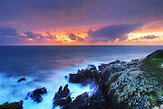Sunset on the edge of Brittany, Bretagne, Pointe Saint-Mathieu, Finistere, Bretagne, Brittany, France