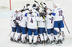 Players of France celebrate after winning during the 2017 IIHF Men's World Championship group B Ice hockey match between National Teams of Switzerland and France, on May 9, 2017 in Accorhotels Arena in Paris, France. Photo by Vid Ponikvar / Sportida