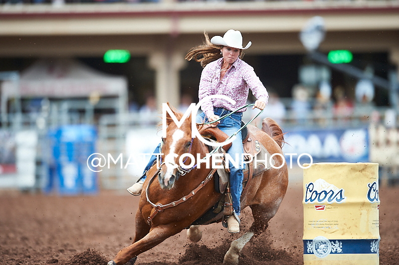 Barrel racer Karisa Brookshire of Lamar, CO competes at the Pikes Peak or Bust Rodeo in Colorado Springs, CO.<br /> <br /> <br /> UNEDITED LOW-RES PREVIEW<br /> <br /> <br /> File shown may be an unedited low resolution version used as a proof only. All prints are 100% guaranteed for quality. Sizes 8x10+ come with a version for personal social media. I am currently not selling downloads for commercial/brand use.