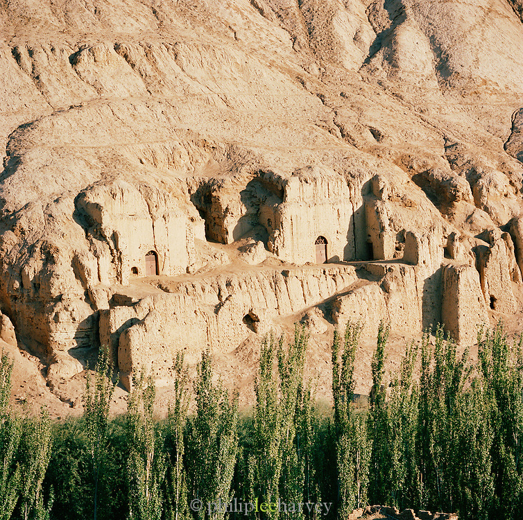The entrance to the Bezeklik Thousand Buddha Caves in the Flaming Mountains, Xinjiang, China