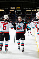 KELOWNA, BC - FEBRUARY 17: Jake Lee #21 of the Kelowna Rockets celebrates a second period goal against the Calgary Hitmen at Prospera Place on February 17, 2020 in Kelowna, Canada. (Photo by Marissa Baecker/Shoot the Breeze)