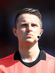 Referee Vihjalmur Thorarinsson during the UEFA European U17 Championship, Group A match at Banks's Stadium, Walsall. PRESS ASSOCIATION Photo. Picture date: Monday May 7, 2018. See PA story SOCCER England U17. Photo credit should read: Mike Egerton/PA Wire. RESTRICTIONS: Editorial use only. No commercial use.