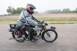 Richard Asprey of Texas riding his 1915 Norton during the Motorcycle Cannonball Race of the Century. Stage-8 from Wichita, KS to Dodge City, KS. USA. Saturday September 17, 2016. Photography ©2016 Michael Lichter.