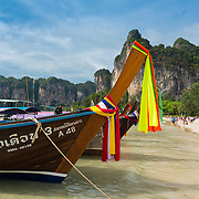 Long-tail boats in Krabi Railay beach