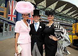 Isabell Kristensen (left), Martin Kristensen and Nicola Kristensen arriving during day one of Royal Ascot at Ascot Racecourse.