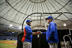 September 19, 2017 - St. Petersburg, Florida, U.S. - WILL VRAGOVIC   |   Times.Chicago Cubs catcher Rene Rivera (7) shakes hands with  manager Joe Maddon (70) before the start of the game between the Chicago Cubs and the Tampa Bay Rays at Tropicana Field in St. Petersburg, Fla. on Tuesday, Sept. 19, 2017. (Credit Image: © Will Vragovic/Tampa Bay Times via ZUMA Wire)