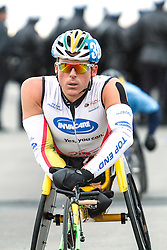 ING New York CIty Marathon: wheelchair athlete warms up prior to start of race