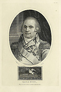 Louis XVIII (Louis Stanislas Xavier; 17 November 1755 – 16 September 1824), known as the Desired (French: le Désiré), was King of France from 1814 to 1824, except for the Hundred Days in 1815. He spent twenty-three years in exile: during the French Revolution and the First French Empire (1791–1814), and during the Hundred Days. Copperplate engraving From the Encyclopaedia Londinensis or, Universal dictionary of arts, sciences, and literature; Volume XVIII;  Edited by Wilkes, John. Published in London in 1821