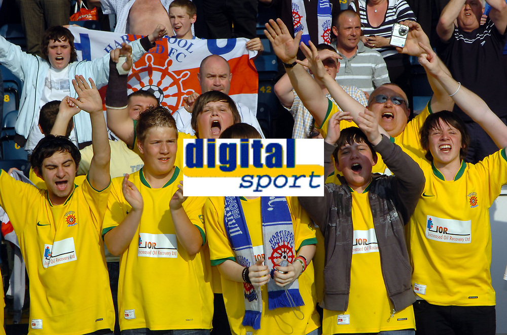 Photo: Kevin Poolman.<br />Wycombe Wanderers v Hartlepool United. Coca Cola League 2. 14/04/2007. Hartlepool fans celebrate going up.