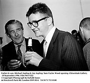 Father & son. Michael Jopling & Jay Jopling. Sam Taylor Wood opening. Chisenhale Gallery. 10 September 1996. Film 96571f22<br />© Copyright Photograph by Dafydd Jones<br />66 Stockwell Park Rd. London SW9 0DA<br />Tel 0171 733 0108