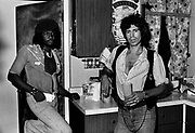 Sly Dunbar with Keith Richards during the Don't Look Back video shoot - Kingston jamaica - 1978