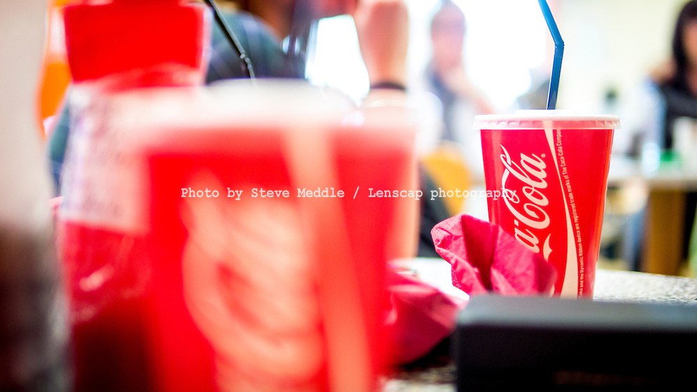 Cup of Take Away Coca Cola Drink with Straw - Apr 2014.