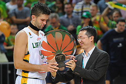Mantas KALNIETIS of Lithuania with a trophy after the friendly match between National Teams of Slovenia and Lithuania before World Championship Spain 2014 on August 18, 2014 in Kaunas, Lithuania. Photo by Robertas Dackus / Sportida.com