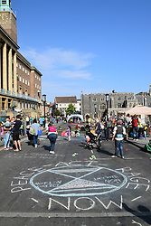 Car Free Day Norwich UK Sunday 22 September 2019.  Extinction Rebellion closed off St Peter's Street opposite City Hall for the day