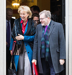 Downing Street, London, February 28th 2017. Environment, food and Rural Affairs Secretary Andrea Leadsom and Scotland Secretary David Mundell leaves the weekly cabinet meeting at 10 Downing Street in London.