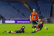 Simon Hickey (#10) of Edinburgh Rugby slips as he attempts a penalty kick during the Guinness Pro 14 2019_20 match between Edinburgh Rugby and Connacht Rugby at BT Murrayfield Stadium, Edinburgh, Scotland on 21 February 2020.