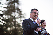 San Jose Councilmember Kansen Chu welcomes families to the 6th Annual District 4 National Night Out Resource Fair and Movie Night at Northwood Park in San Jose, California, on August 6, 2013. (Stan Olszewski/SOSKIphoto)