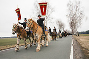Traditional Sorbian Easter celebration on Sunday: More than 400 of so called Osterreiter (Easter Riders) will ride from village to village to sing and announce the resurrection of Jesus Christ.<br /> This tradition dates back at least to 1541. <br /> <br /> Wittichenau Area, District of Bautzen in Upper Lusatia, Saxonia, Germany on April 1, 2018.