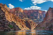 View of the canyon walls ofthe Grand Canyon seen from a raft on the Colorado River
