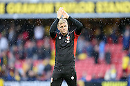Eddie Howe, the Bournemouth manager applauds the AFC Bournemouth away fans after the final whistle. Premier league match, Watford v AFC Bournemouth at Vicarage Road in Watford, London on Saturday 1st October 2016.<br /> pic by John Patrick Fletcher, Andrew Orchard sports photography.